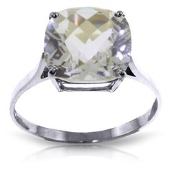 ALARRI 3.6 Carat 14K Solid White Gold Ring Natural Checkerboard Cut White Topaz