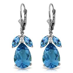 ALARRI 13 CTW 14K Solid White Gold Submission Blue Topaz Earrings