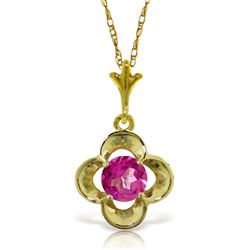 ALARRI 0.55 CTW 14K Solid Gold First Girlfriend Pink Topaz Necklace