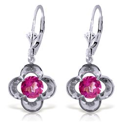 ALARRI 1.1 Carat 14K Solid White Gold Leverback Earrings Natural Pink Topaz