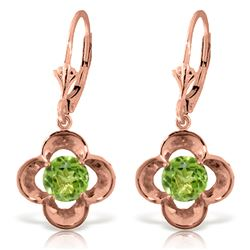 ALARRI 1.1 CTW 14K Solid Rose Gold Peridot Bloom Earrings