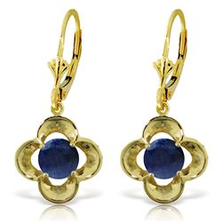 ALARRI 1.1 Carat 14K Solid Gold Leverback Earrings Natural Sapphire