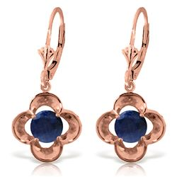 ALARRI 1.1 Carat 14K Solid Rose Gold Leverback Earrings Natural Sapphire