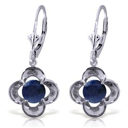 ALARRI 1.1 Carat 14K Solid White Gold Leverback Earrings Natural Sapphire