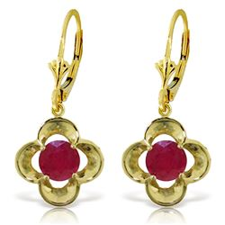 ALARRI 1.1 CTW 14K Solid Gold Exotic Flower Ruby Earrings