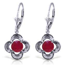 ALARRI 1.1 Carat 14K Solid White Gold Wonderfully Made Ruby Earrings
