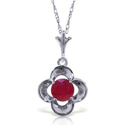 ALARRI 0.55 Carat 14K Solid White Gold Praise Joy Ruby Necklace
