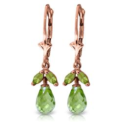ALARRI 3.4 Carat 14K Solid Rose Gold Peridot Envy Earrings