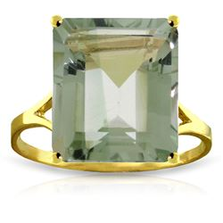 ALARRI 6.5 Carat 14K Solid Gold Ring Natural Octagon Green Amethyst