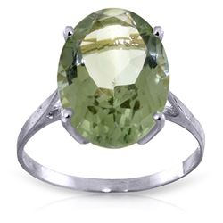 ALARRI 7.55 Carat 14K Solid White Gold Ring Natural Green Amethyst