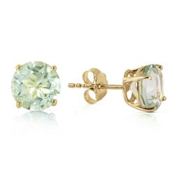 ALARRI 3.1 Carat 14K Solid Gold Stud Earrings Natural Green Amethyst