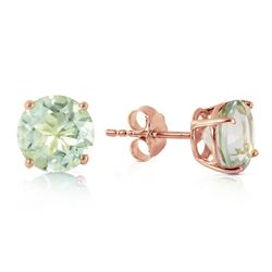ALARRI 3.1 Carat 14K Solid Rose Gold Stud Earrings Natural Green Amethyst