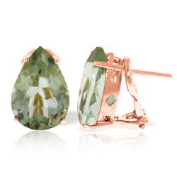 ALARRI 10 CTW 14K Solid Rose Gold Pear Shape Green Amethyst Earrings