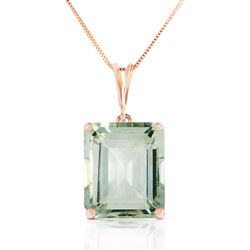 ALARRI 14K Solid Rose Gold Necklace w/ Octagon Green Amethyst