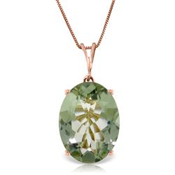 ALARRI 14K Solid Rose Gold Necklace w/ Oval Green Amethyst