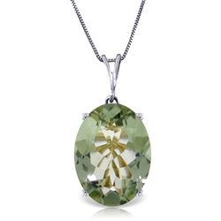 ALARRI 7.55 Carat 14K Solid White Gold Necklace Oval Green Amethyst