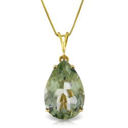 ALARRI 5 Carat 14K Solid Gold Necklace Natural Green Amethyst