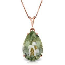ALARRI 5 Carat 14K Solid Rose Gold Necklace Natural Green Amethyst
