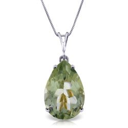 ALARRI 5 Carat 14K Solid White Gold Necklace Natural Green Amethyst