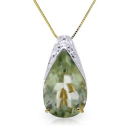 ALARRI 5 Carat 14K Solid Gold Portrait Of A Lady Green Amethyst Necklace