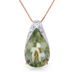 ALARRI 5 CTW 14K Solid Rose Gold Ocean Green Amethyst Necklace