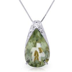 ALARRI 5 Carat 14K Solid White Gold Lash And Astonish Green Amethyst Necklace