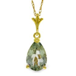 ALARRI 1.5 Carat 14K Solid Gold New England Green Amethyst Necklace
