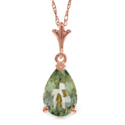 ALARRI 1.5 CTW 14K Solid Rose Gold Peart Green Amethyst Necklace