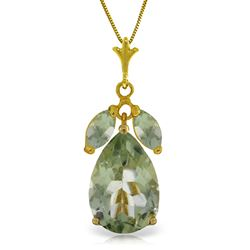 ALARRI 6.5 CTW 14K Solid Gold Storm Approaching Green Amethyst Necklace