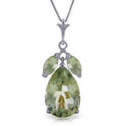 ALARRI 6.5 Carat 14K Solid White Gold Fastidious Green Amethyst Necklace