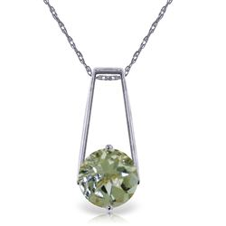 ALARRI 1.45 Carat 14K Solid White Gold Triumphant Green Amethyst Necklace