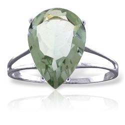 ALARRI 5 Carat 14K Solid White Gold Love Is A Verb Green Amethyst Ring