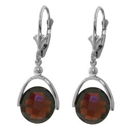 ALARRI 8.4 Carat 14K Solid White Gold Leverback Earrings Checkerboard Cut Garnet