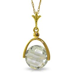 ALARRI 3.25 CTW 14K Solid Gold Necklace Checkerboard Cut Green Amethyst