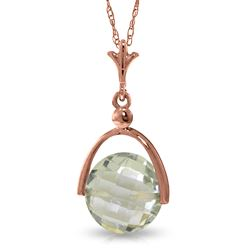 ALARRI 14K Solid Rose Gold Necklace w/ Checkerboard Cut Green Amethyst