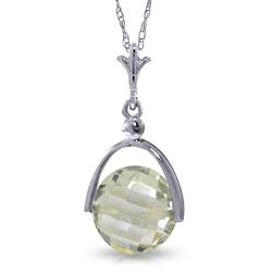 ALARRI 3.25 CTW 14K Solid White Gold Necklace Checkerboard Cut Green Amethyst