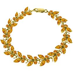 ALARRI 16.5 CTW 14K Solid Gold Butterfly Bracelet Natural Citrine