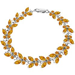 ALARRI 16.5 Carat 14K Solid White Gold Butterfly Bracelet Natural Citrine