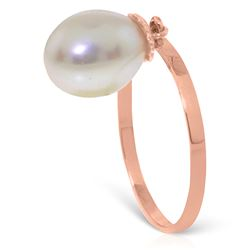 ALARRI 4 Carat 14K Solid Rose Gold Ring Dangling Natural Pearl