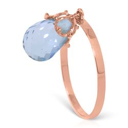 ALARRI 3 Carat 14K Solid Rose Gold Ring Dangling Briolette Blue Topaz