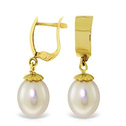ALARRI 8 CTW 14K Solid Gold Leverback Earrings Drop Pearl