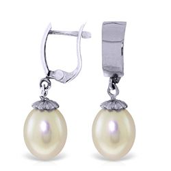 ALARRI 8 CTW 14K Solid White Gold Leverback Earrings Drop Pearl