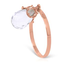 ALARRI 3 Carat 14K Solid Rose Gold Ring Dangling Briolete White Topaz