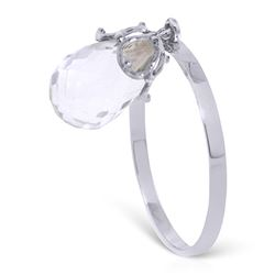 ALARRI 3 Carat 14K Solid White Gold Ring Dangling Briolete White Topaz