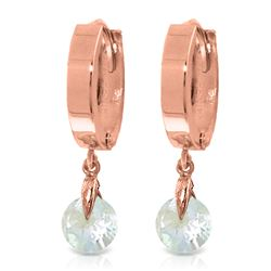 ALARRI 1.3 Carat 14K Solid Rose Gold Hoop Earrings Natural Aquamarine