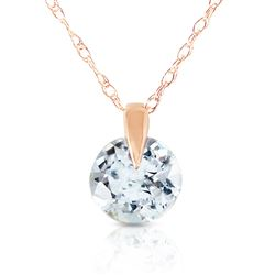 ALARRI 0.65 CTW 14K Solid Rose Gold Single Round Aquamarine Necklace
