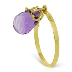 ALARRI 3 Carat 14K Solid Gold Ring Dangling Briolette Purple Amethyst