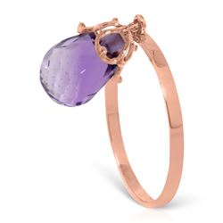 ALARRI 3 CTW 14K Solid Rose Gold Ring Dangling Briolette Purple Amethyst