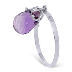 ALARRI 3 Carat 14K Solid White Gold Ring Dangling Briolette Purple Amethyst