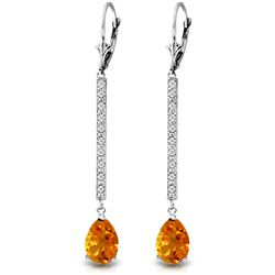 ALARRI 3.6 Carat 14K Solid White Gold Earrings Diamond Citrine